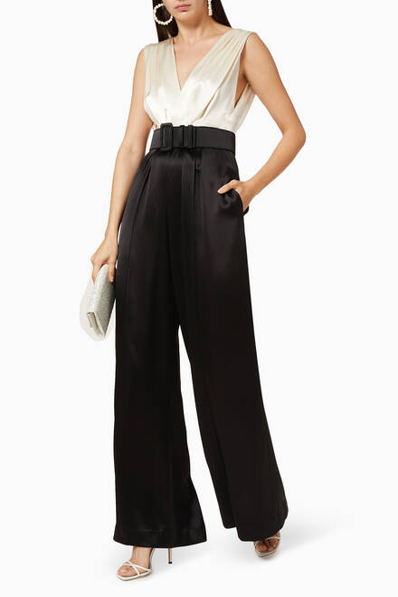 hover state of Keaton Colour-block Satin Jumpsuit