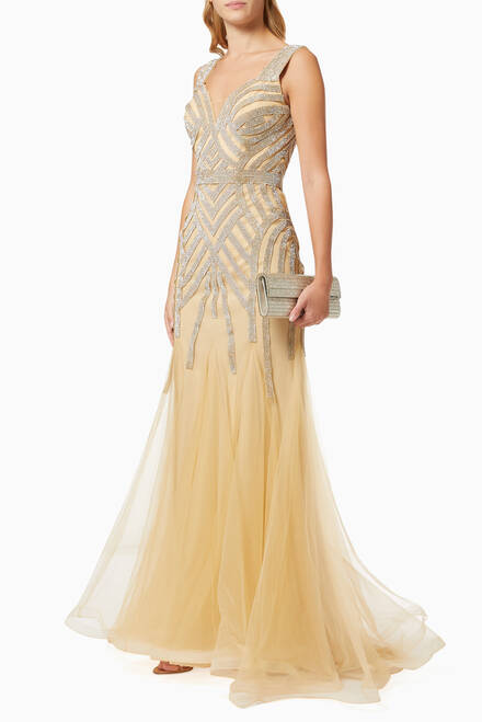 hover state of Embellished Tulle Gown