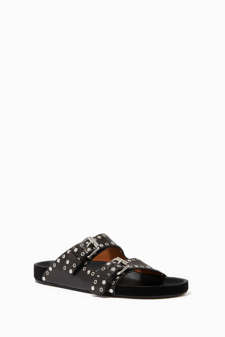 hover state of Lennyo Studded Sandals in Leather