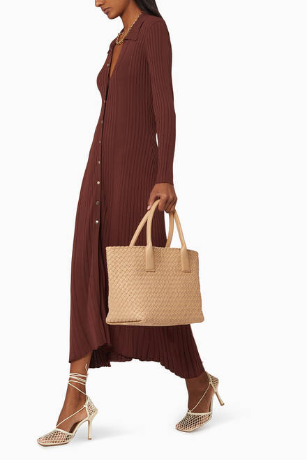 hover state of Small Cabat Tote Bag in Nappa