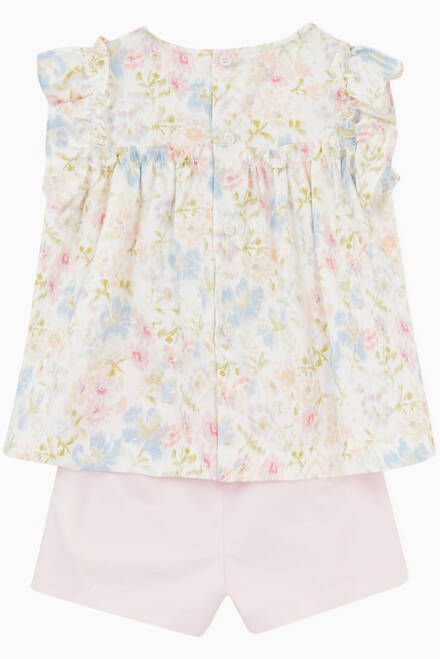 hover state of Floral-Print Top & Shorts Set in Cotton