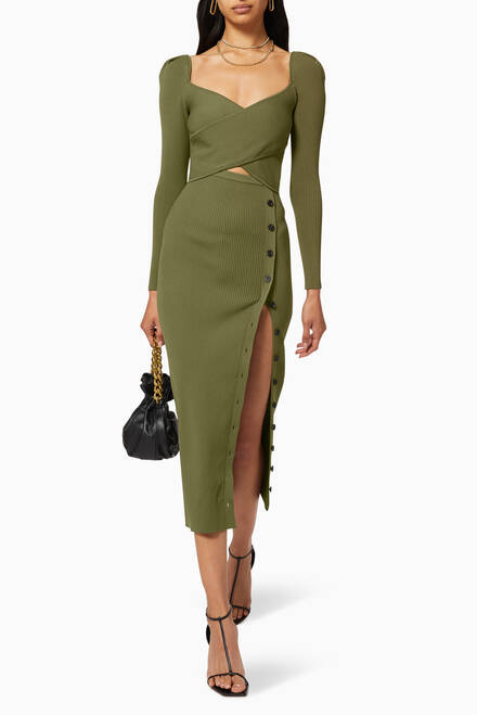 hover state of Cut-out Ribbed Knit Midi Dress