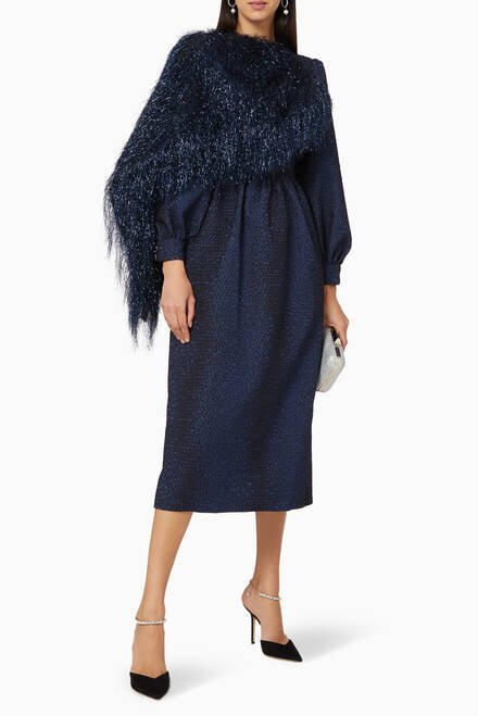 hover state of Fringe Cape Dress