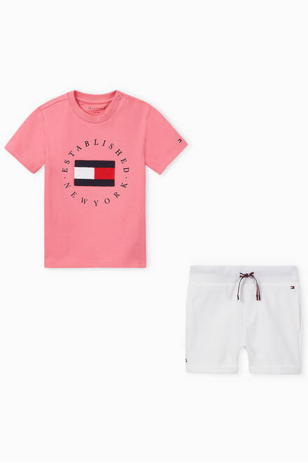 hover state of Logo T-shirt & Shorts Set in Organic Cotton Jersey