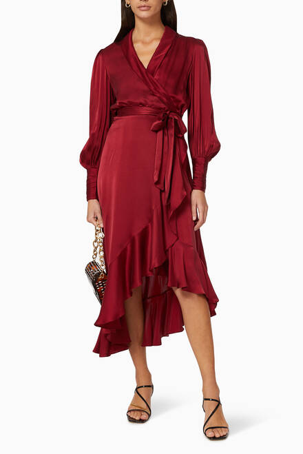 hover state of Silk Wrap Midi Dress