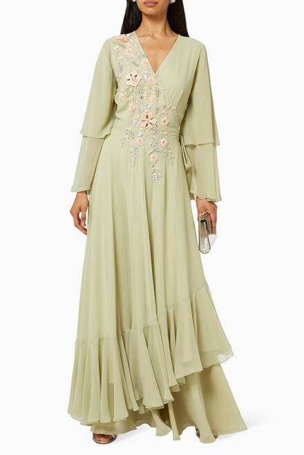 hover state of Embroidered Wrap Dress