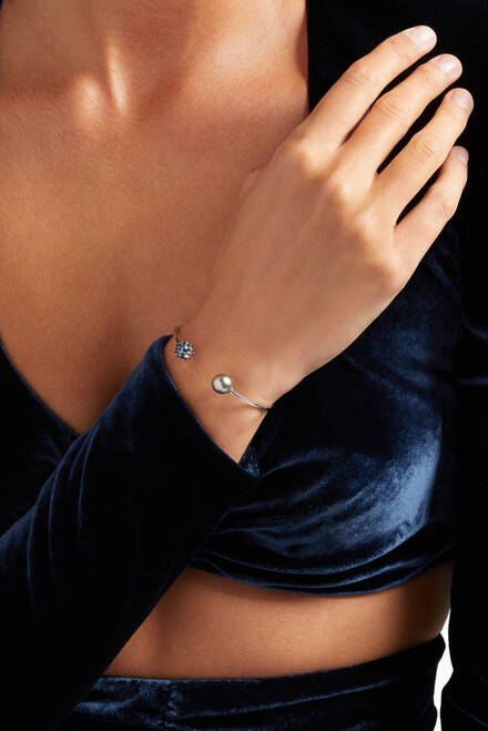 hover state of Akila Pearl Cuff Bracelet with Sapphires in 18kt White Gold