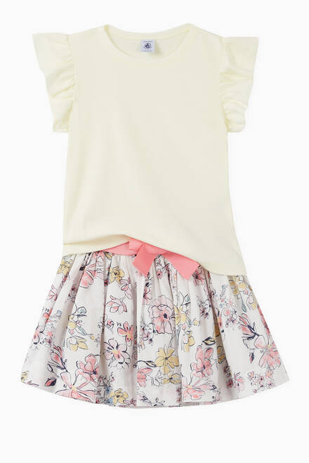 hover state of Floral Print Skirt in Poplin
