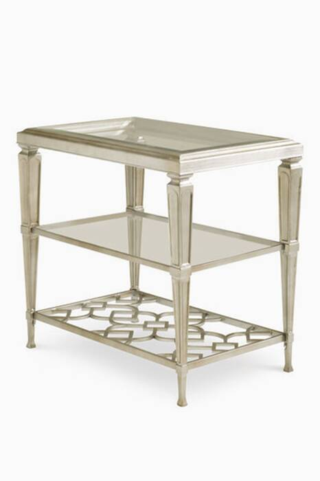 Taupe-Silver Social Connections Side Table