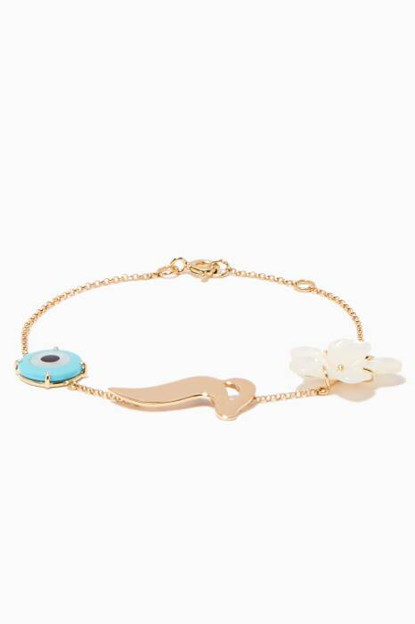 Yellow-Gold & Mother Of Pearl Charms M Bracelet