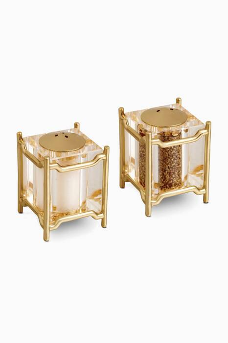 Gold Plated Han Spice, Salt & Pepper Jewels Set Of Two