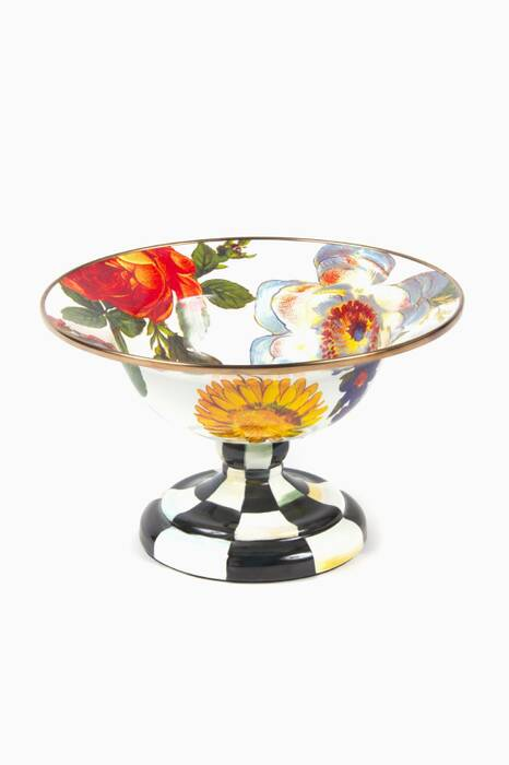 Small Flower Market Compote, White