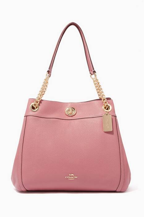 Rose-Pink Turnlock Edie Shoulder Bag