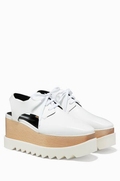 White Elyse Cut-Out Platform Oxfords
