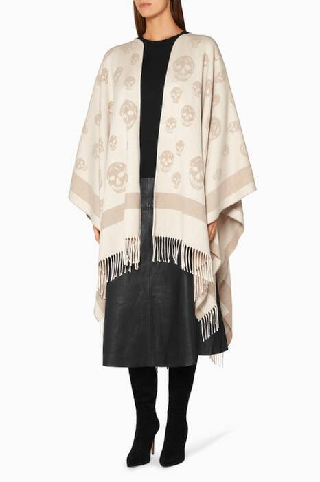 Light-Grey Skull Jacquard Cape