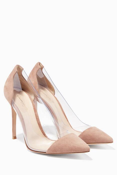 Light-Brown Suede Plexi Pumps