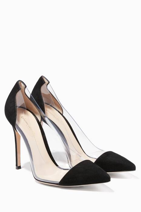 Plexi Black Suede And PVC Pump