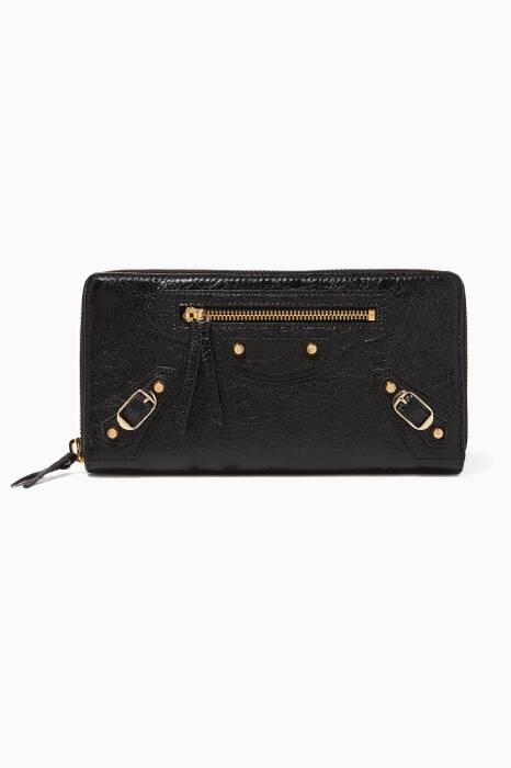 Black Classic City Zip-Around Wallet