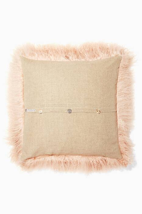 Beige Linen And Tibetan Goat Cushion