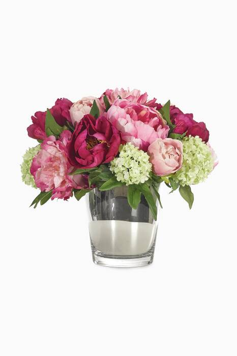 Fuchsia Pink & Green Peony Snowball Bouquet with Mirrored Glass Vase