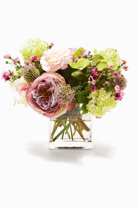 Pink and Green Rose Snowball Bouquet in Glass Cube Vase