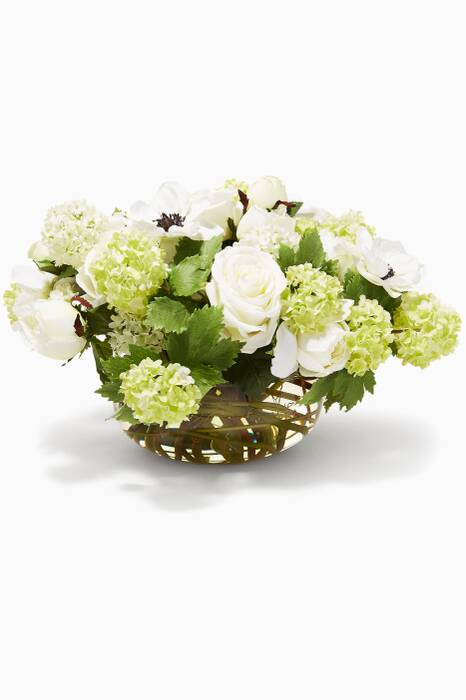 Rose, Peony & Anemone Bouquet in Glass Bowl