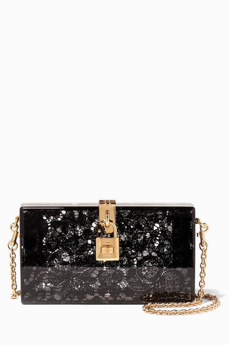 Black Dolce Plexi Lace Evening Clutch