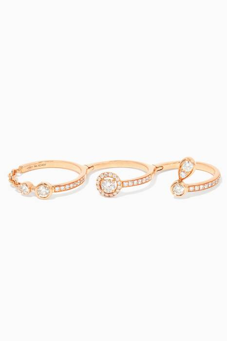 Rose-Gold And Diamond Rock Candy Multi-Finger Ring