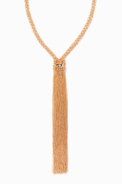 Itaca Long Gold Necklace With Tassel