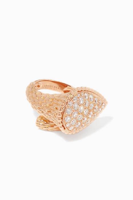 Pink-Gold & Diamond Large Serpent Bohème Ring