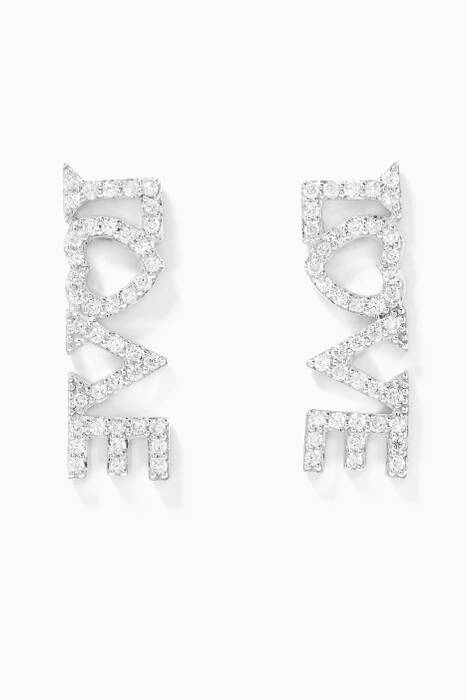 White-Gold & Dimanods Love Earrings