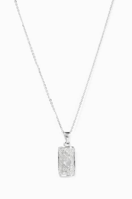 White-Gold & Diamonds Heart Lock Necklace