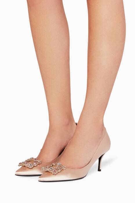 Light Beige Flower Strass Satin Pumps