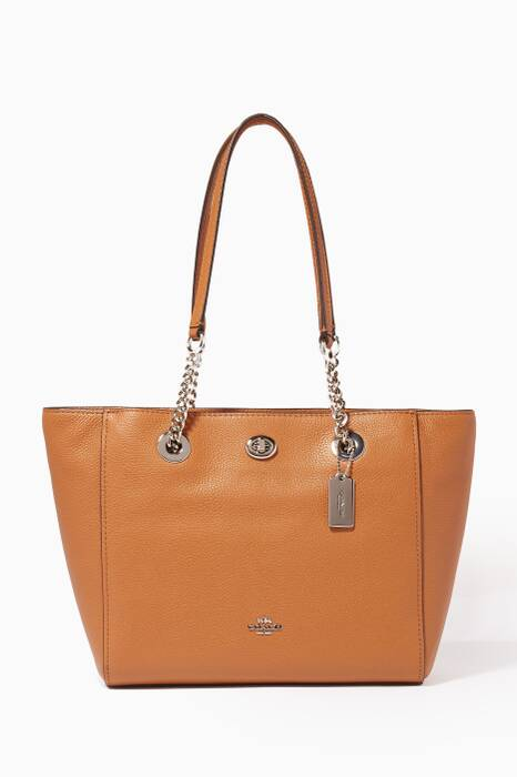 Tan Turnlock Chain 27 Tote Bag