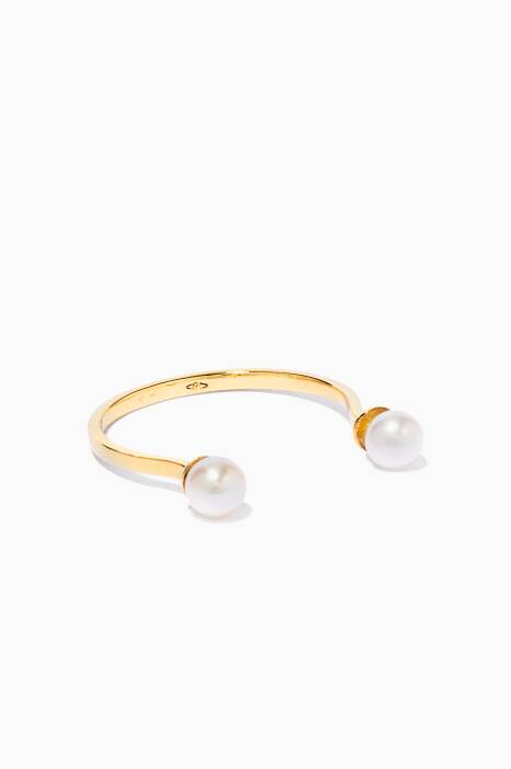 Gold Double Pearl Ring