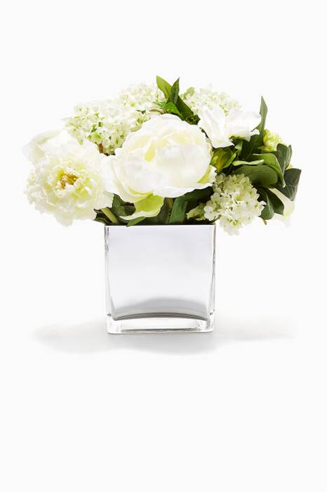 Rose and Snowball Bouquet in Mirrored Cube