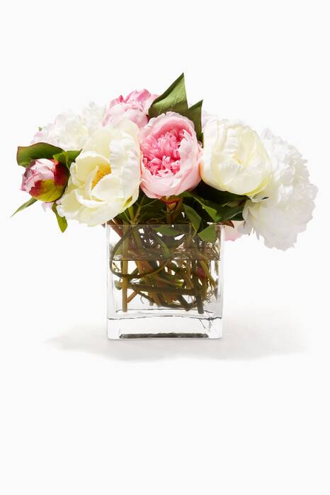 Cream and Mauve Peony Bouquet in Glass Cube Vase