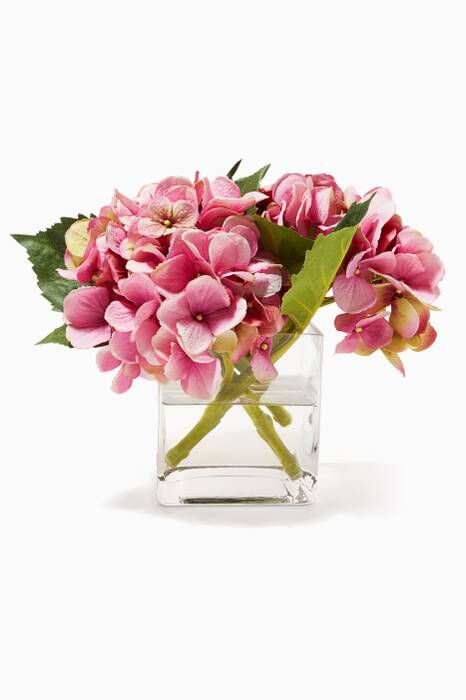 Pink and Purple Hydrangea Bouquet in Glass Cube Vase