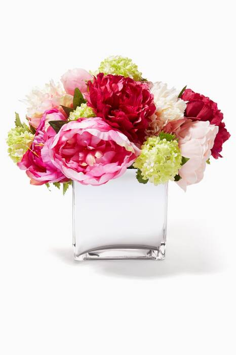 Fuchsia and Green Peony Snowball Bouquet in Glass Mirrored Cube