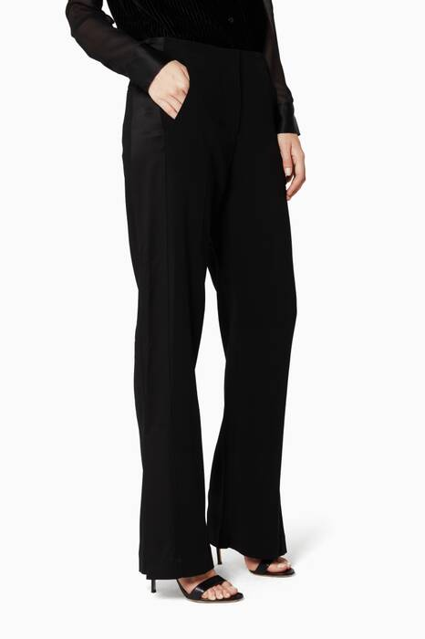 Abel Black Ankle-Slit Straight-Leg Pant