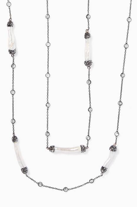 Off-White Baroque Pearl And Zirconia Necklace