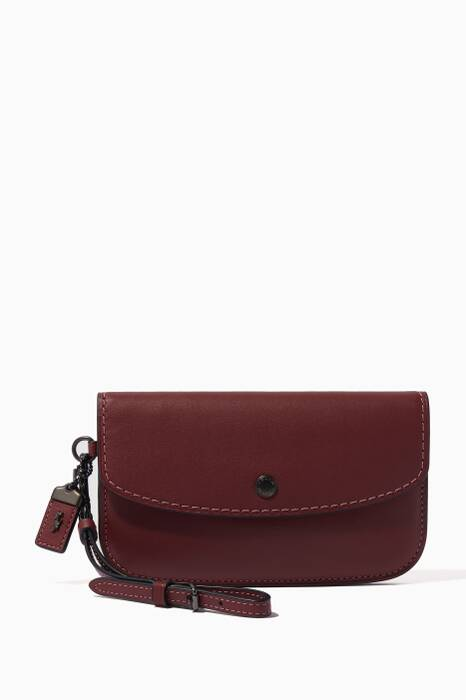 Burgundy Glovetanned Leather Clutch