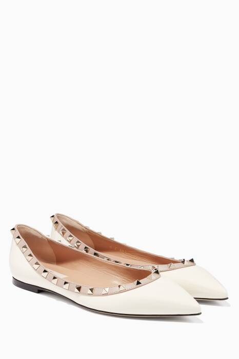 Light-Ivory Rockstud Patent Ballerinas