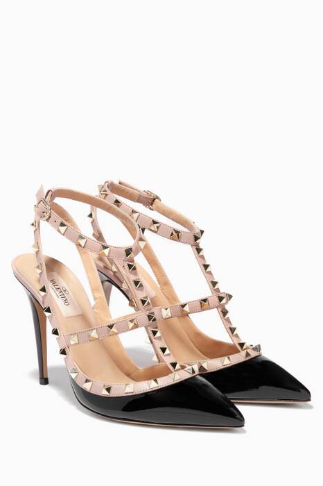 Black Single-Strap Rockstud Patent Pumps