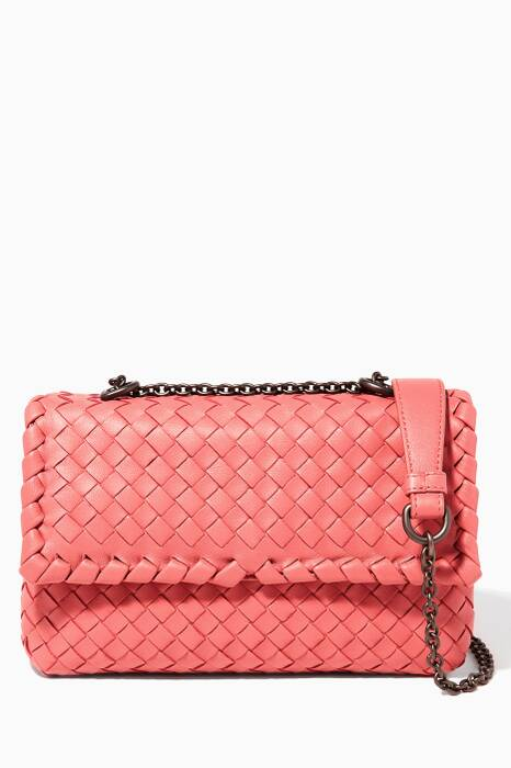 Small Dark-Pink Olmpia Intrecciato Leather Shoulder Bag