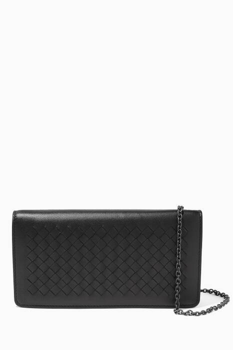 Black Intrecciato Mini Wallet Bag