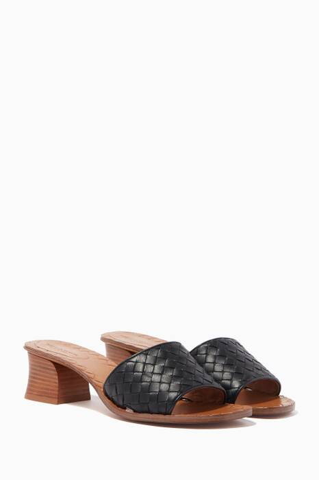 Black Intrecciato Leather Sandals