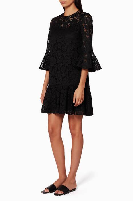 Black Ruffled Guipure Lace Dress