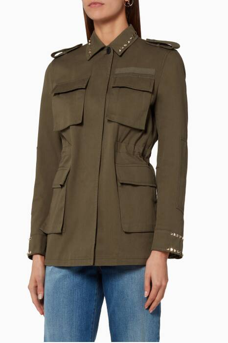 Khaki Rockstud Untitled Jacket