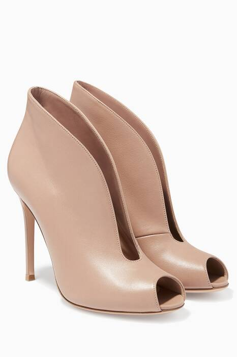 Tan Peep-toe Boot